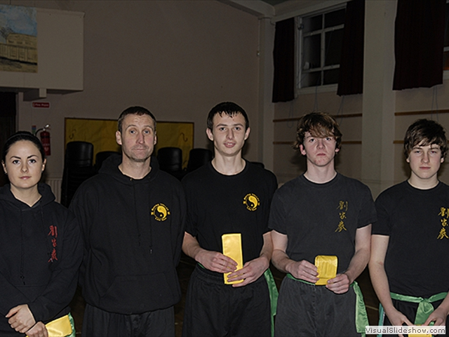 Grading Success for Carly, Jake, ? and ?, receiving their Yellow Sash from Sifu Derek Dawson