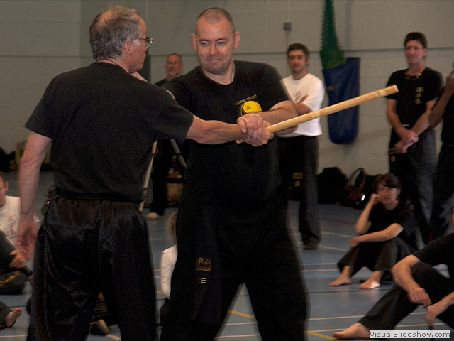 Guardian John Russell demonstrating self defense with Niall Whyte at the Summer Course
