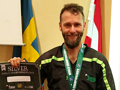 Glenn Chegwidden at World Kickboxing Championships, took silver in the Veterans section